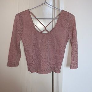 Pink lace crop top with criss cross at the back
